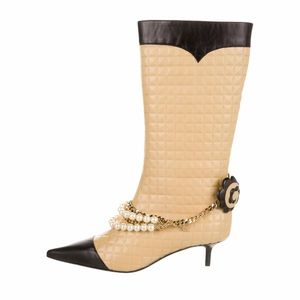 Chanel Camellia Quilted Faux Pearls Boots